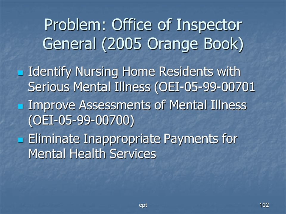 Problem: Office of Inspector General (2005 Orange Book)