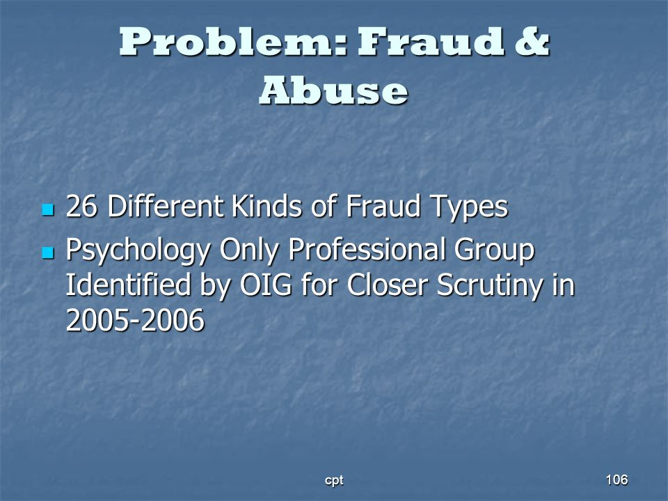 Problem: Fraud & Abuse 26 Different Kinds of Fraud Types