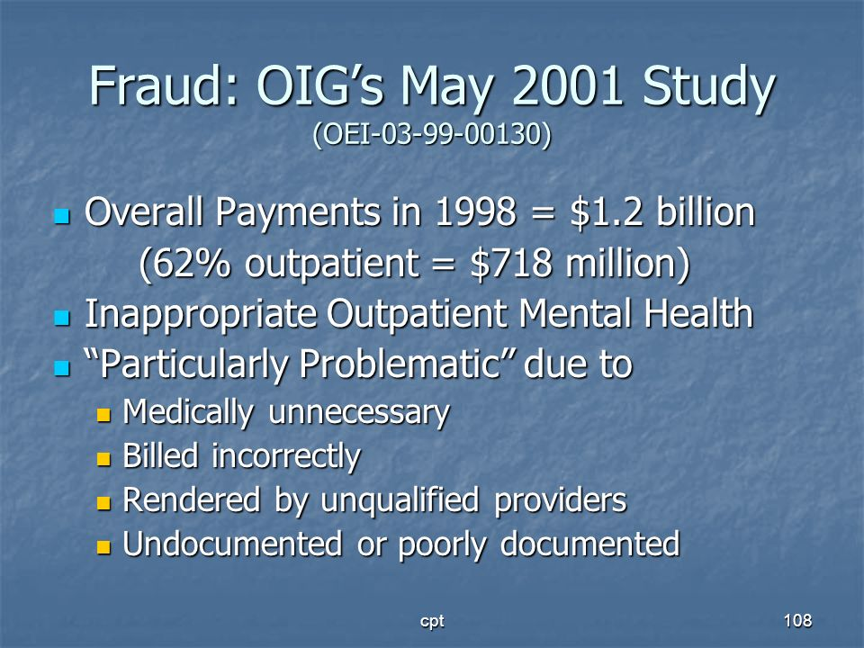 Fraud: OIG's May 2001 Study (OEI )