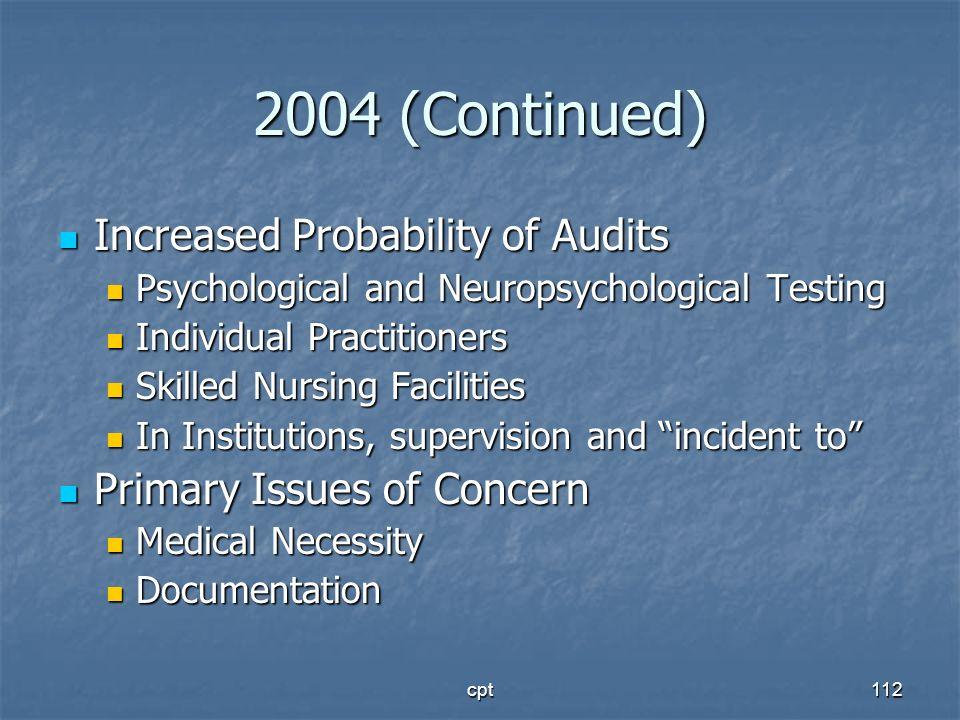 2004 (Continued) Increased Probability of Audits