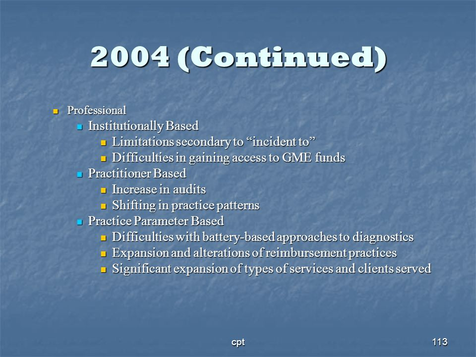 2004 (Continued) Institutionally Based