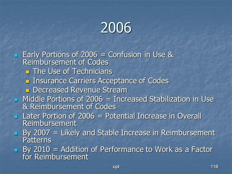 2006 Early Portions of 2006 = Confusion in Use & Reimbursement of Codes. The Use of Technicians. Insurance Carriers Acceptance of Codes.