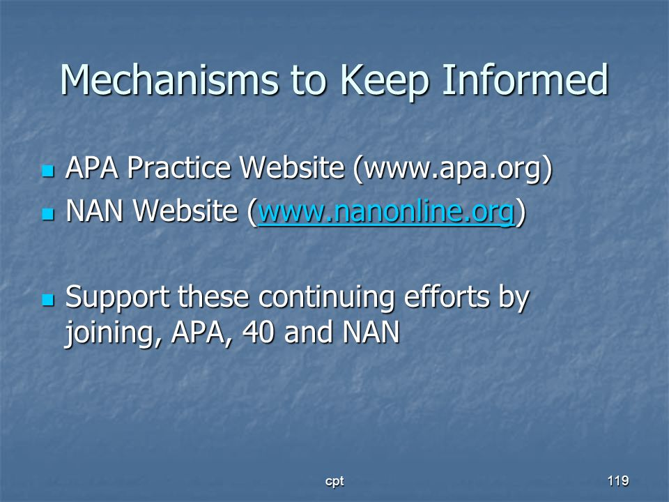 Mechanisms to Keep Informed
