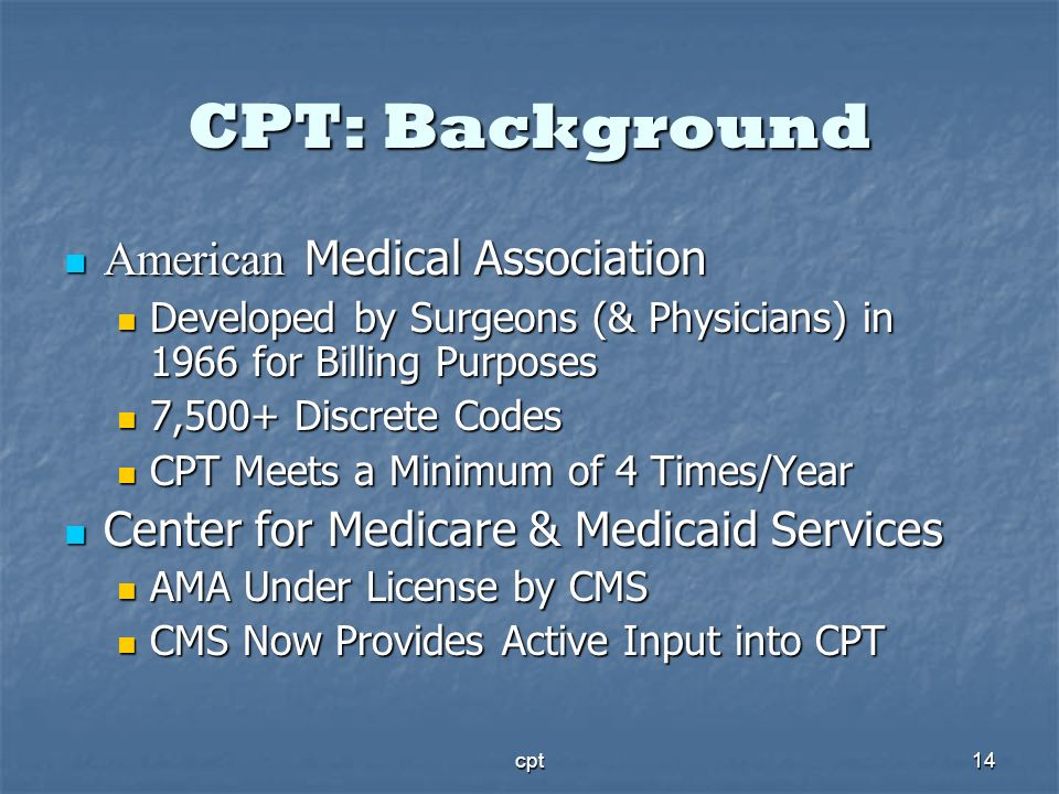 CPT: Background American Medical Association