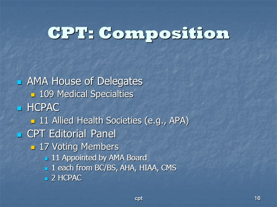 CPT: Composition AMA House of Delegates HCPAC CPT Editorial Panel