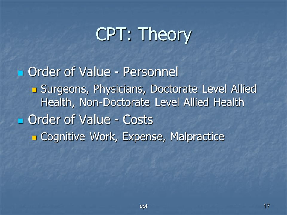CPT: Theory Order of Value - Personnel Order of Value - Costs