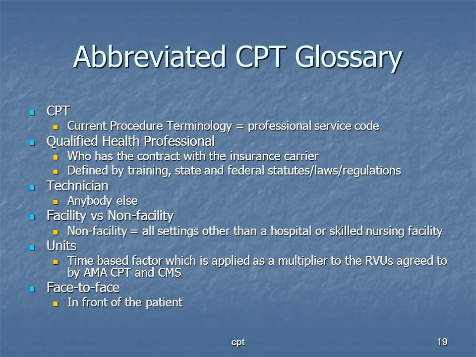 Abbreviated CPT Glossary