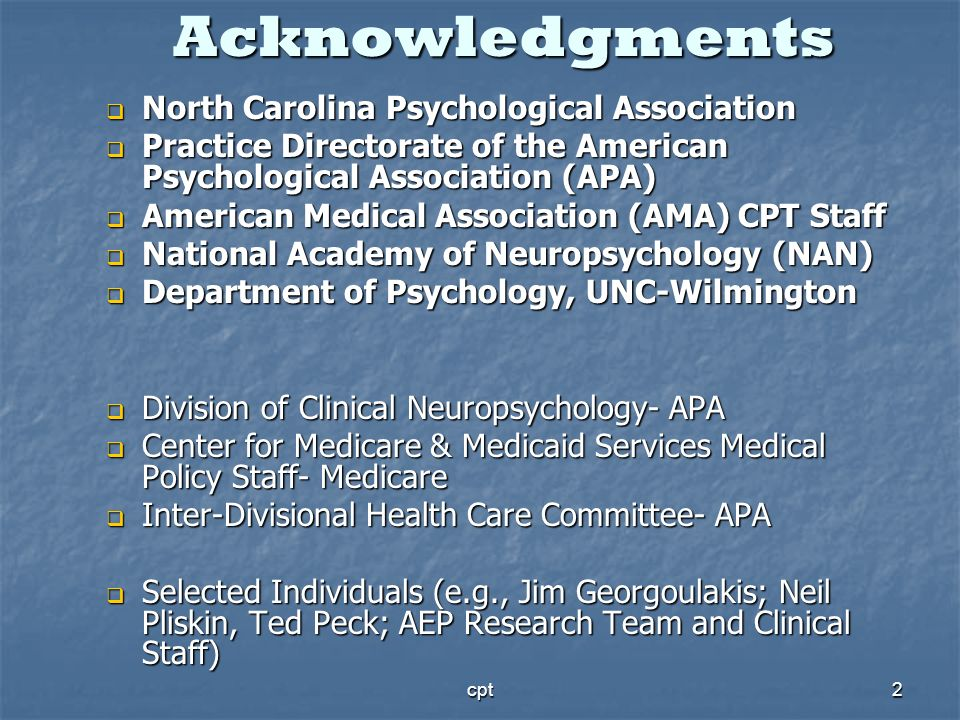 Acknowledgments North Carolina Psychological Association