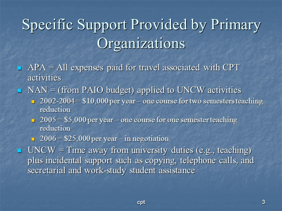 Specific Support Provided by Primary Organizations