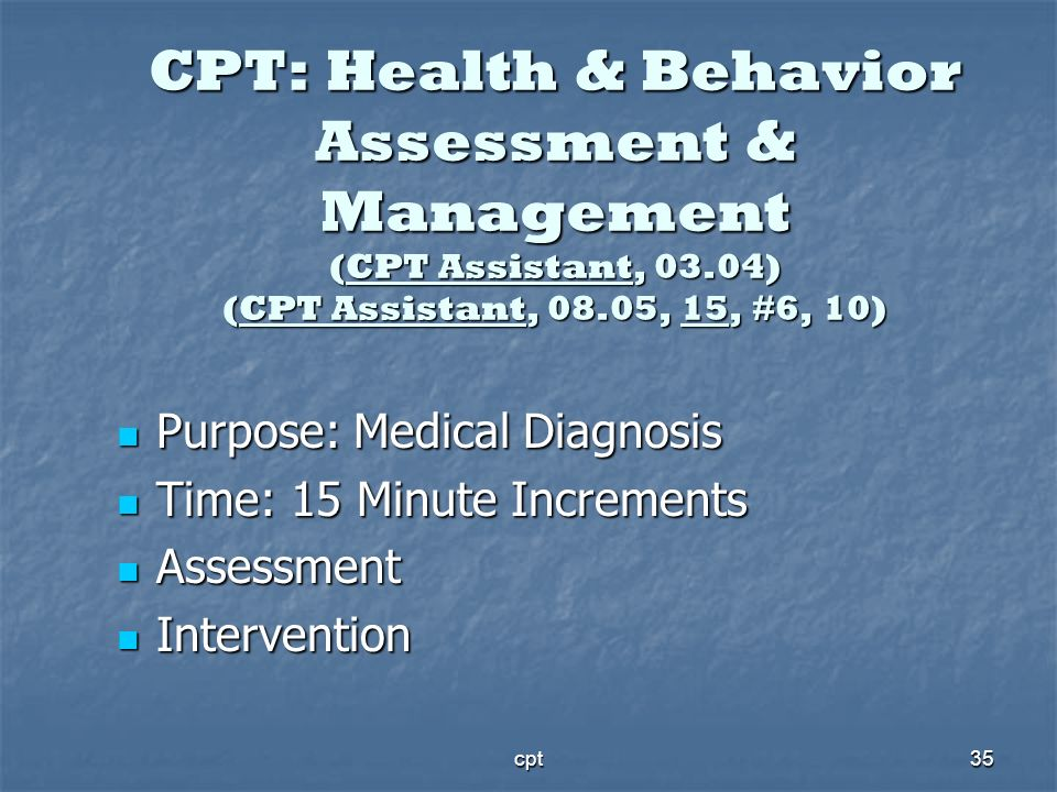 CPT: Health & Behavior Assessment & Management (CPT Assistant, 03
