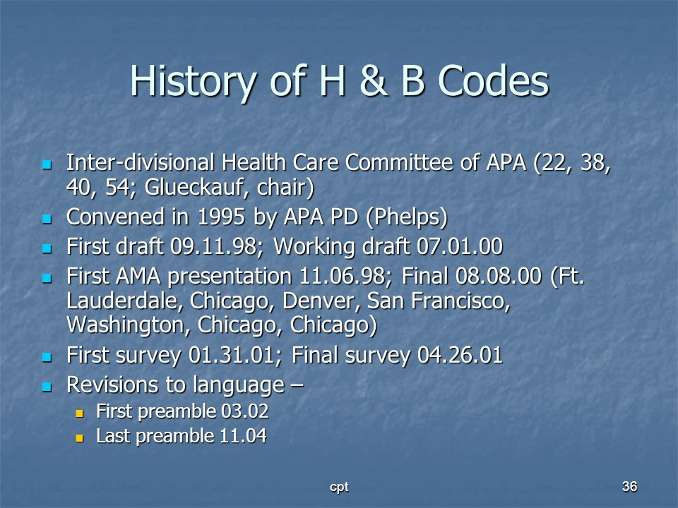 History of H & B Codes Inter-divisional Health Care Committee of APA (22, 38, 40, 54; Glueckauf, chair)