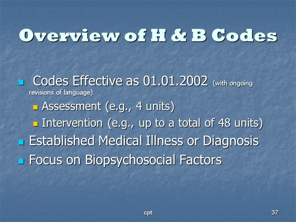 Overview of H & B Codes Codes Effective as 01.01.2002 (with ongoing revisions of language) Assessment (e.g., 4 units)