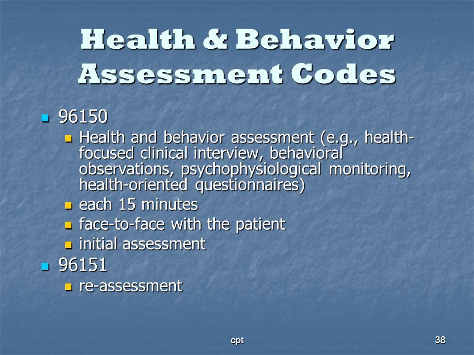 Health & Behavior Assessment Codes
