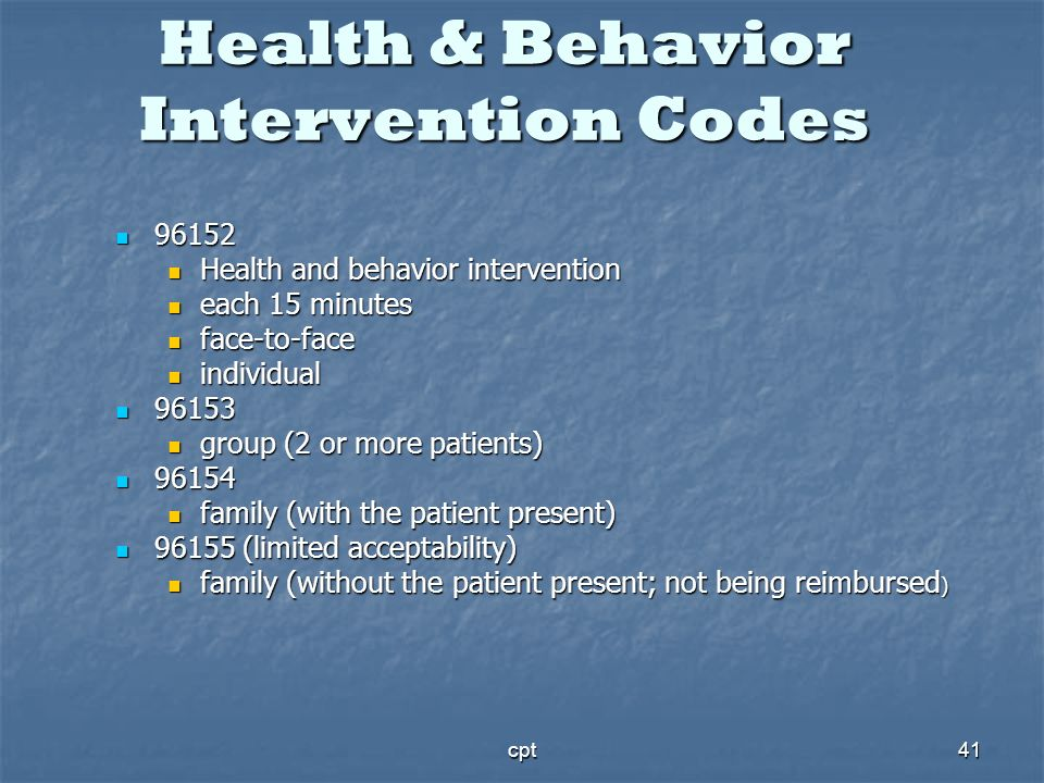 Health & Behavior Intervention Codes