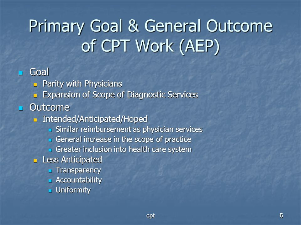 Primary Goal & General Outcome of CPT Work (AEP)