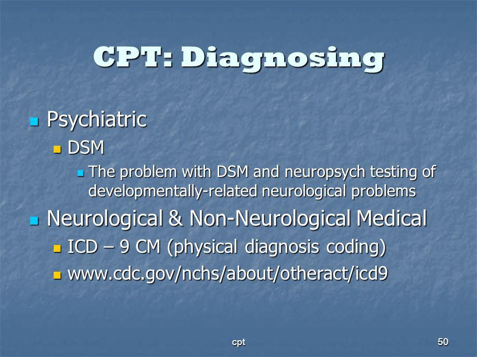 CPT: Diagnosing Psychiatric Neurological & Non-Neurological Medical