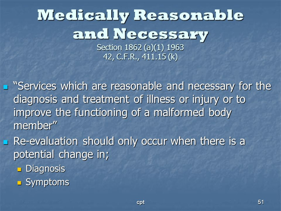 Medically Reasonable and Necessary Section 1862 (a)(1) 1963 42, C.F.R., 411.15 (k)