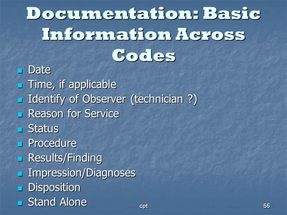 Documentation: Basic Information Across Codes