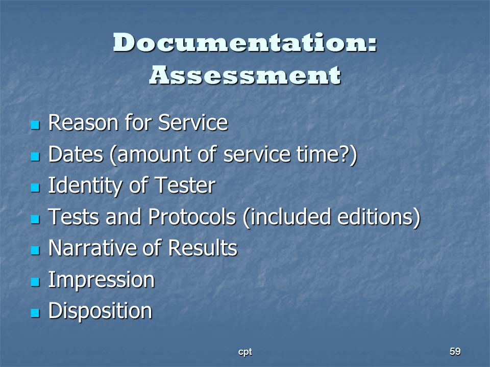 Documentation: Assessment