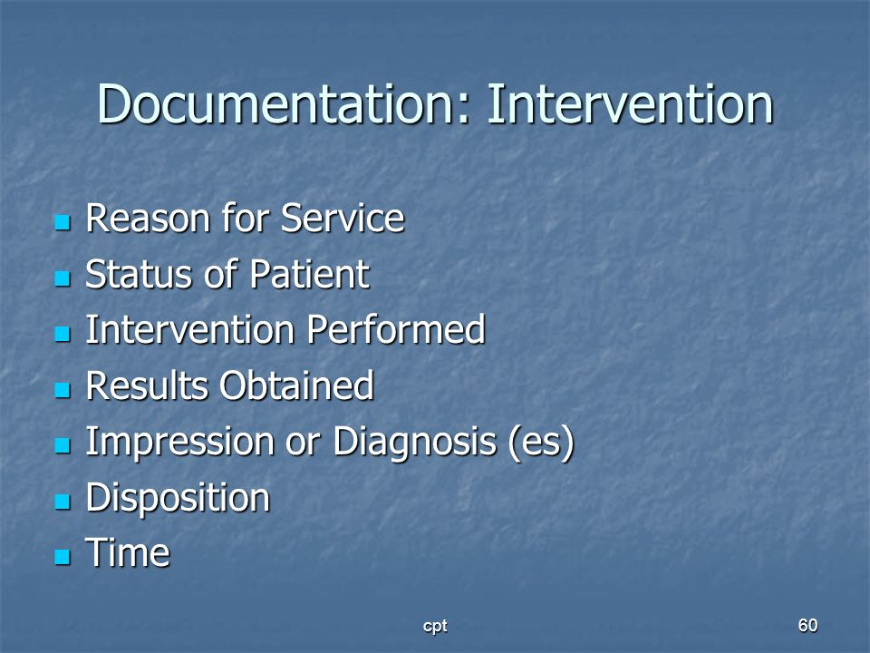 Documentation: Intervention