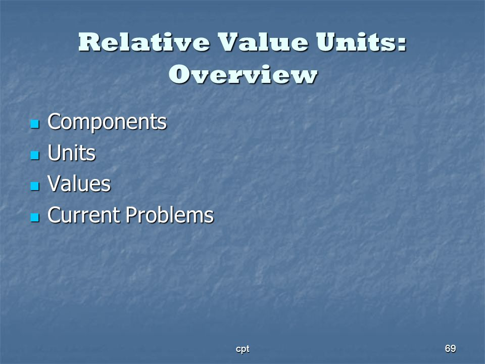 Relative Value Units: Overview