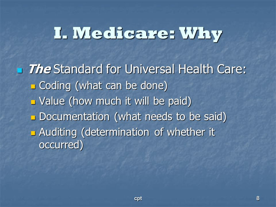 I. Medicare: Why The Standard for Universal Health Care: