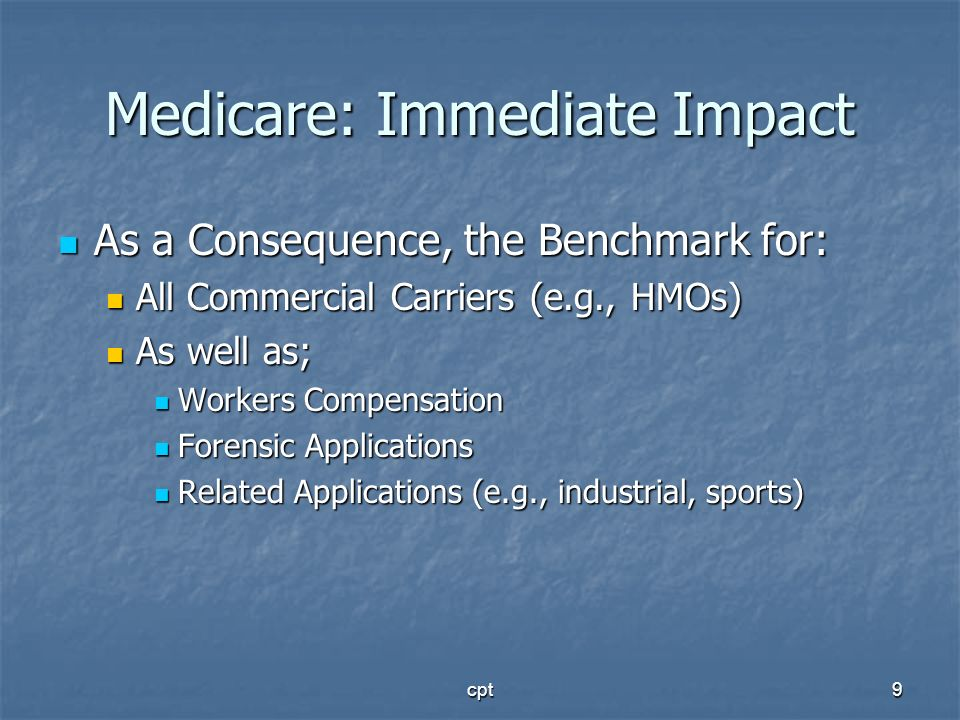 Medicare: Immediate Impact
