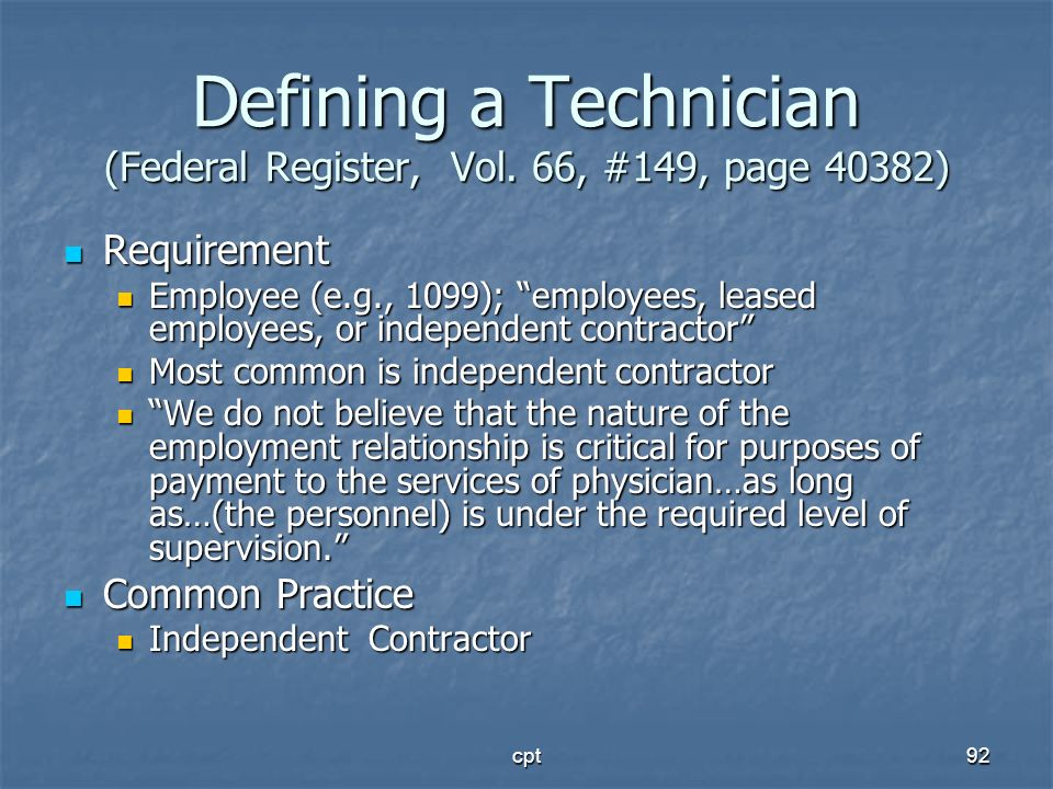 Defining a Technician (Federal Register, Vol. 66, #149, page 40382)