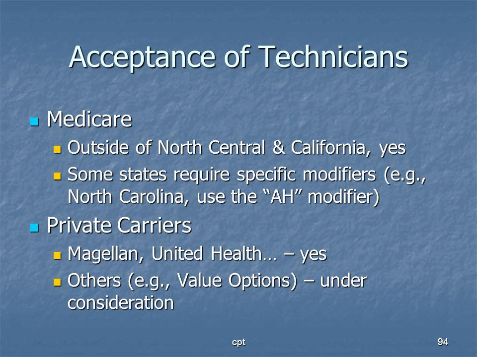 Acceptance of Technicians