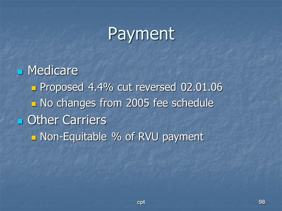 Payment Medicare Other Carriers Proposed 4.4% cut reversed 02.01.06