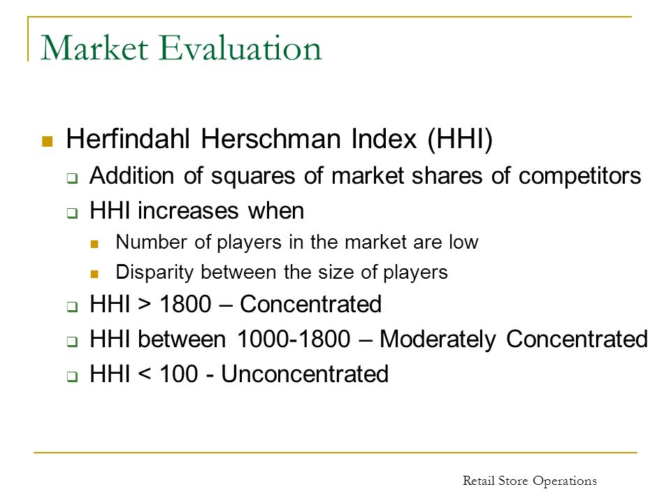 Market Evaluation Herfindahl Herschman Index (HHI)