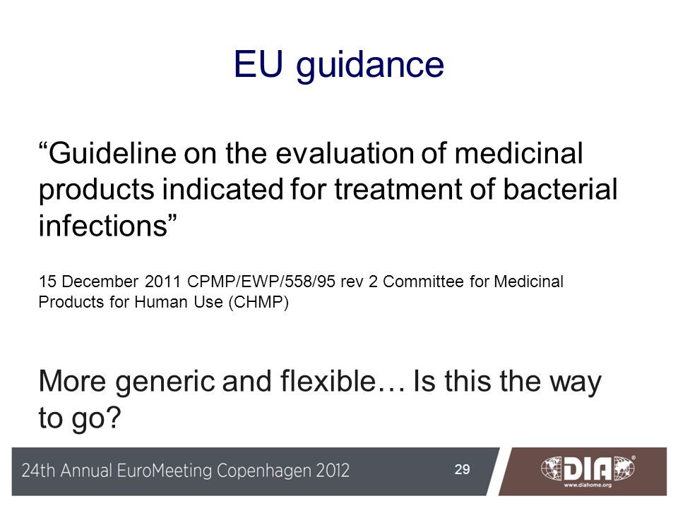 EU guidance Guideline on the evaluation of medicinal products indicated for treatment of bacterial infections