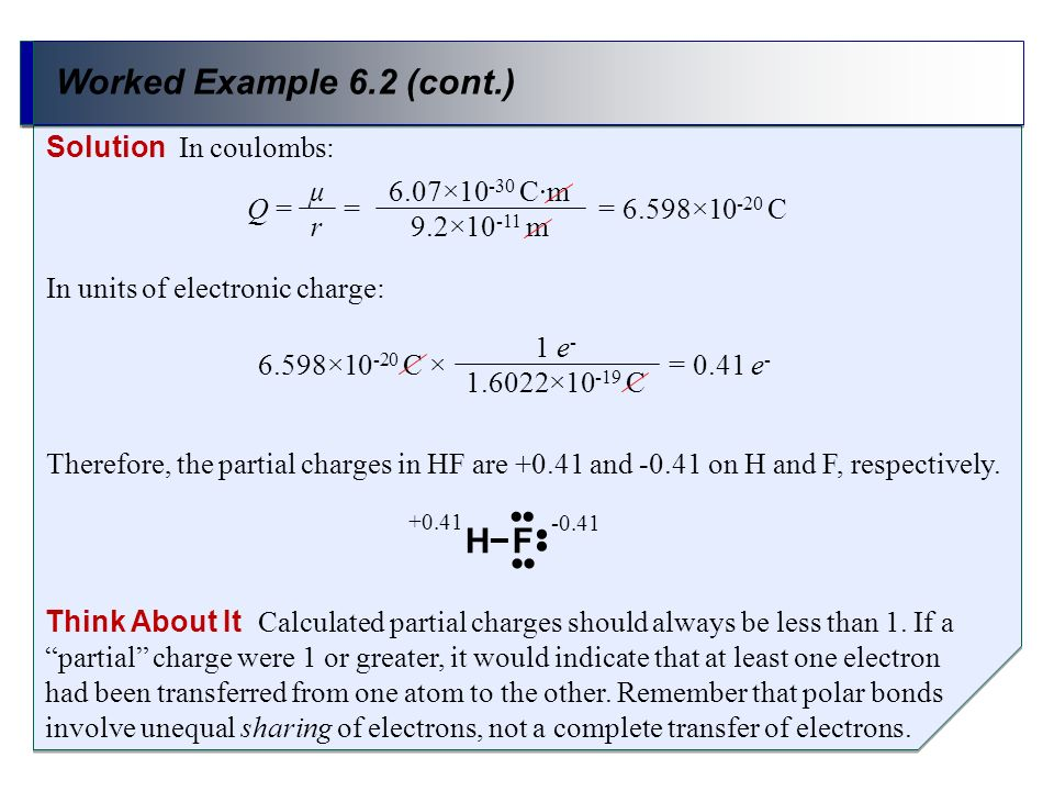 Worked Example 6.2 (cont.) H− F •• Solution In coulombs: