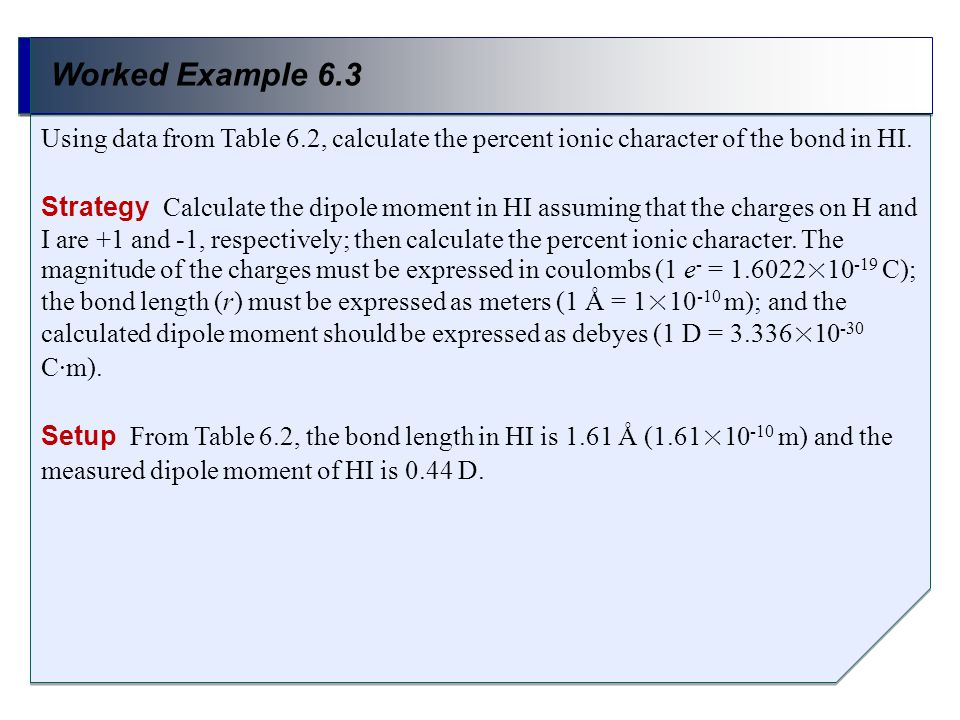 Worked Example 6.3 Using data from Table 6.2, calculate the percent ionic character of the bond in HI.