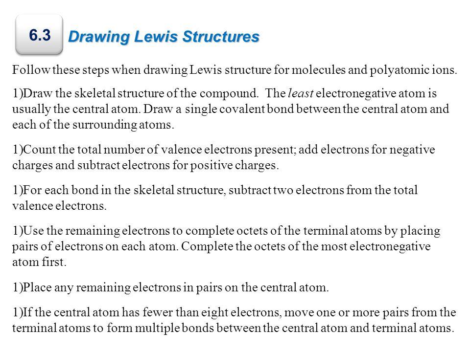 6.3 Drawing Lewis Structures