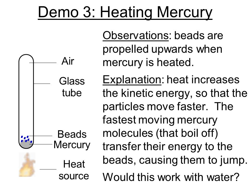 Demo 3: Heating Mercury Observations: beads are propelled upwards when mercury is heated.