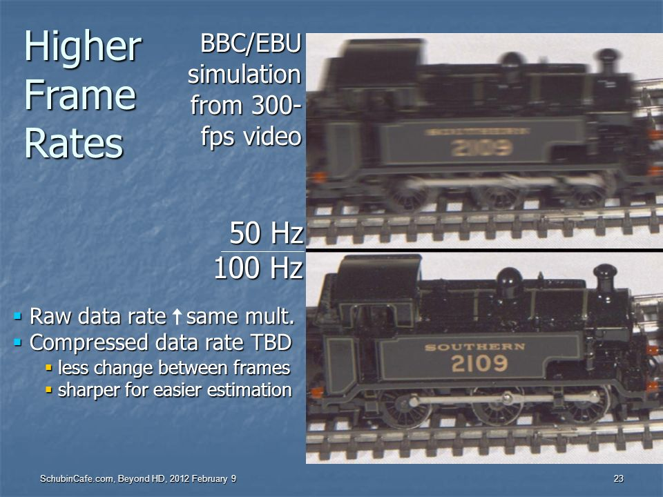 Higher Frame Rates 50 Hz 100 Hz BBC/EBU simulation from 300- fps video