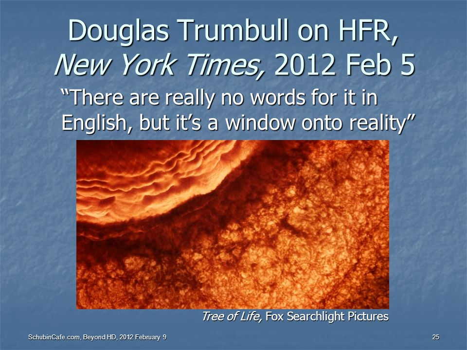 Douglas Trumbull on HFR, New York Times, 2012 Feb 5