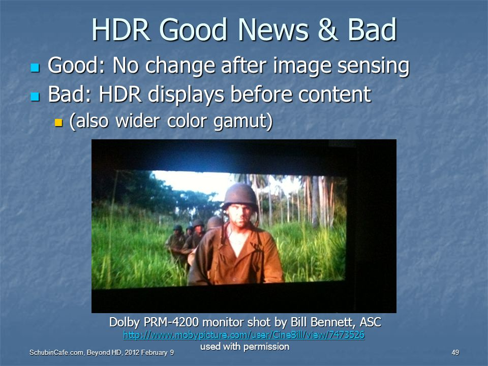 Dolby PRM-4200 monitor shot by Bill Bennett, ASC