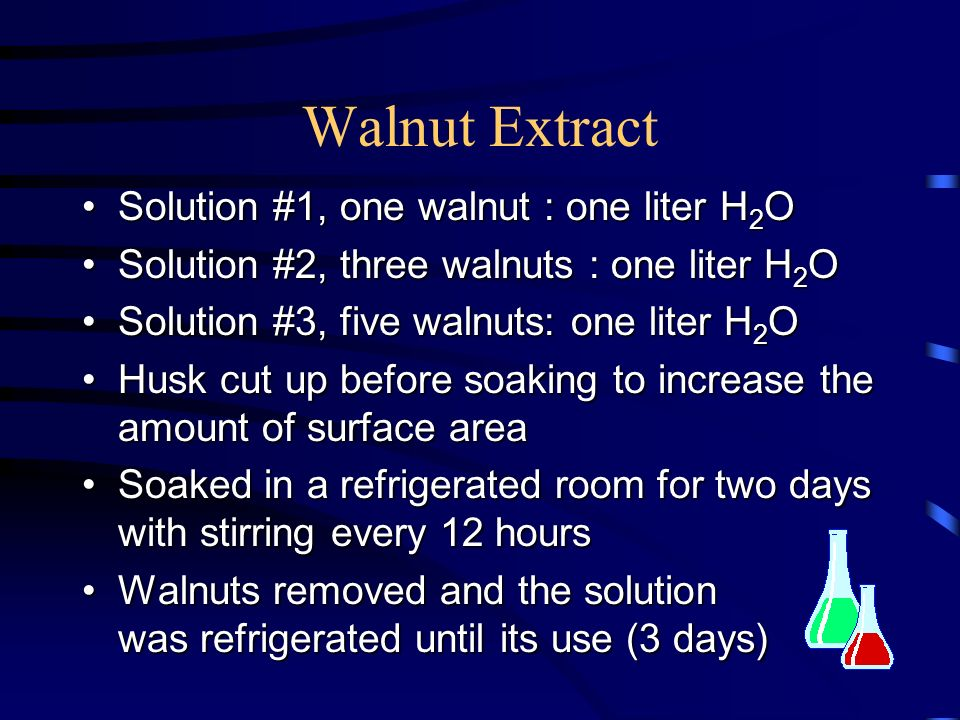 Walnut Extract Solution #1, one walnut : one liter H2O