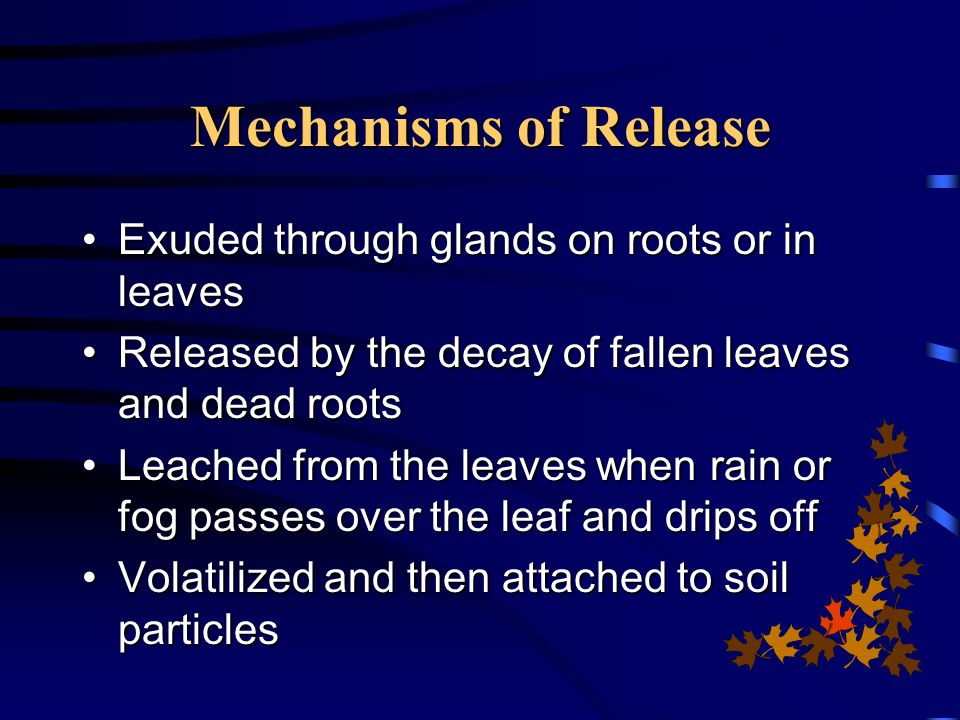 Mechanisms of Release Exuded through glands on roots or in leaves
