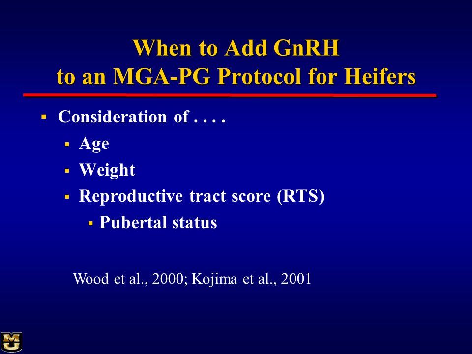 When to Add GnRH to an MGA-PG Protocol for Heifers
