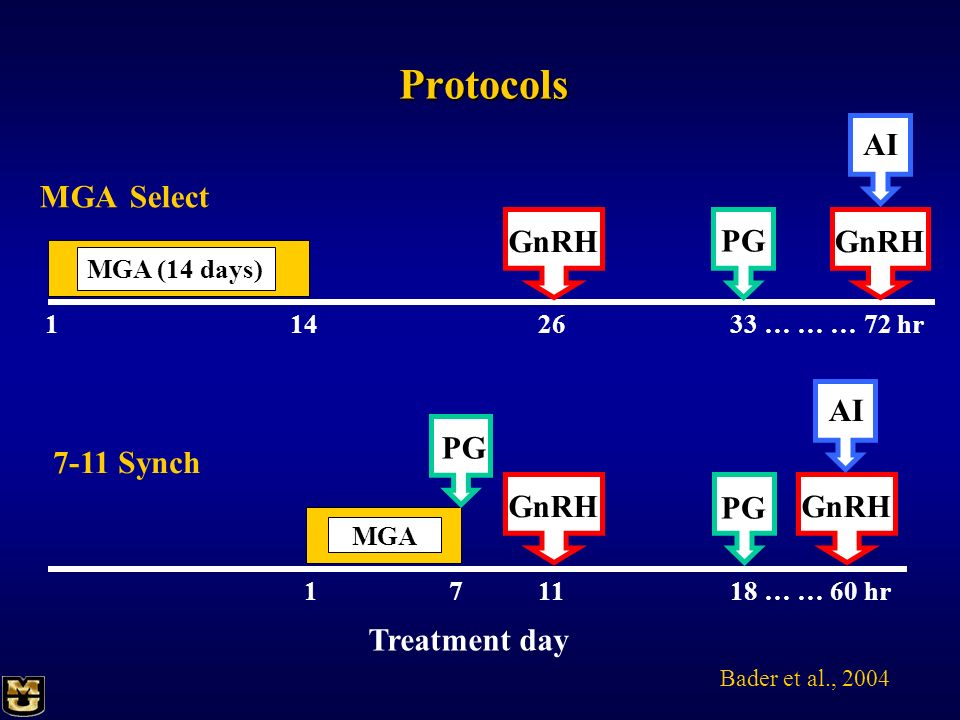 Protocols AI MGA Select GnRH GnRH PG AI PG 7-11 Synch GnRH GnRH PG
