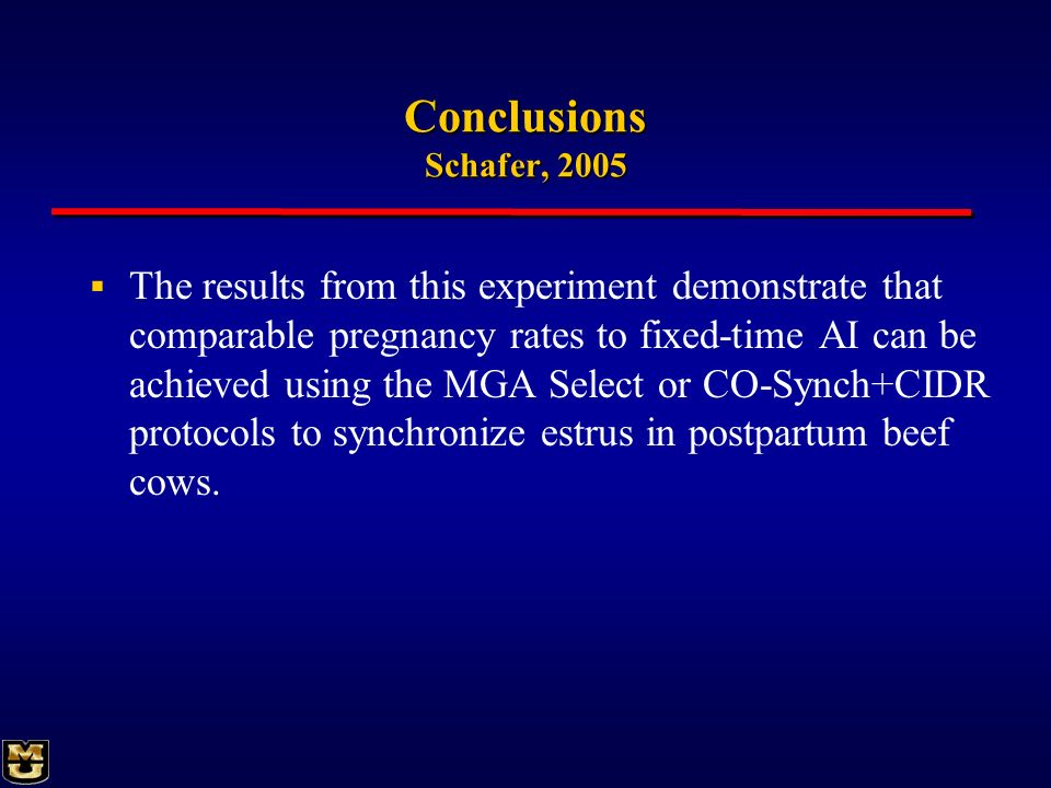 Conclusions Schafer, 2005