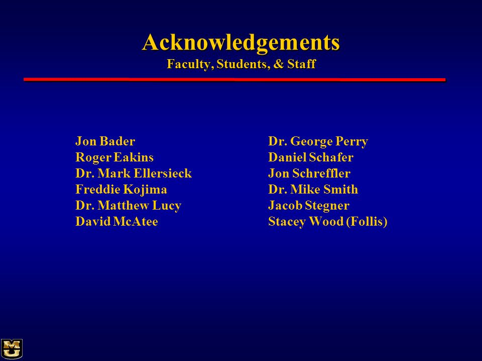 Acknowledgements Faculty, Students, & Staff