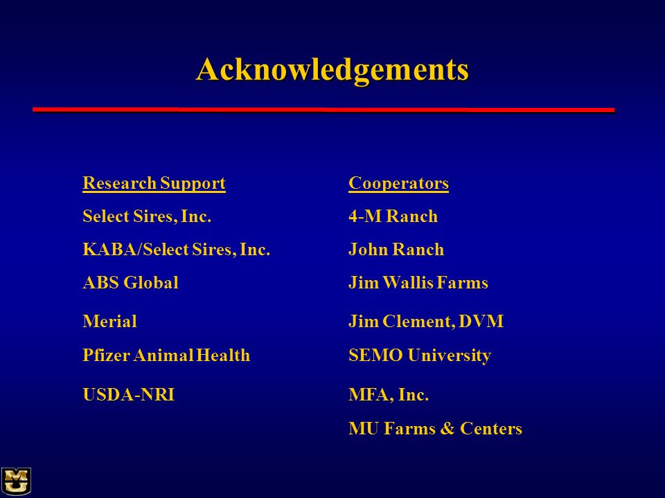 Acknowledgements Research Support Cooperators