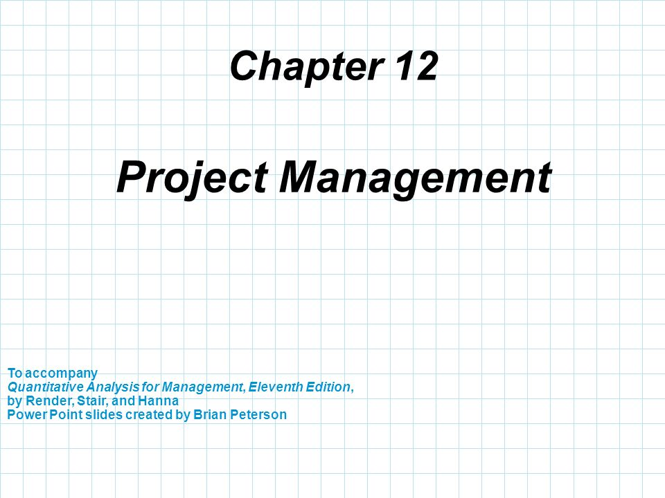 Project Management Chapter 12