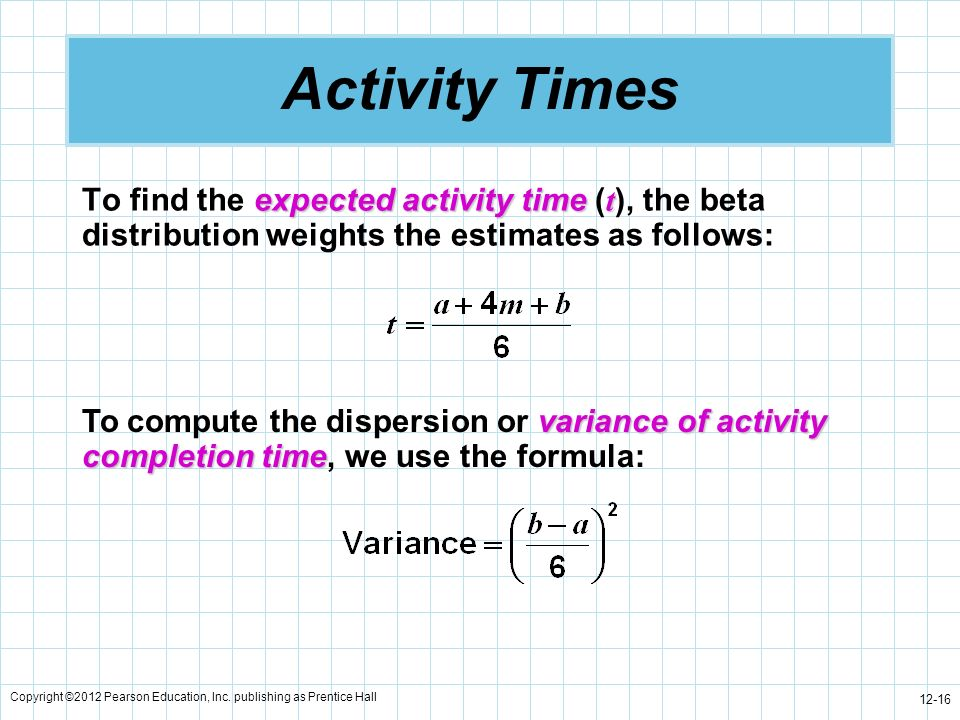 Activity Times To find the expected activity time (t), the beta distribution weights the estimates as follows: