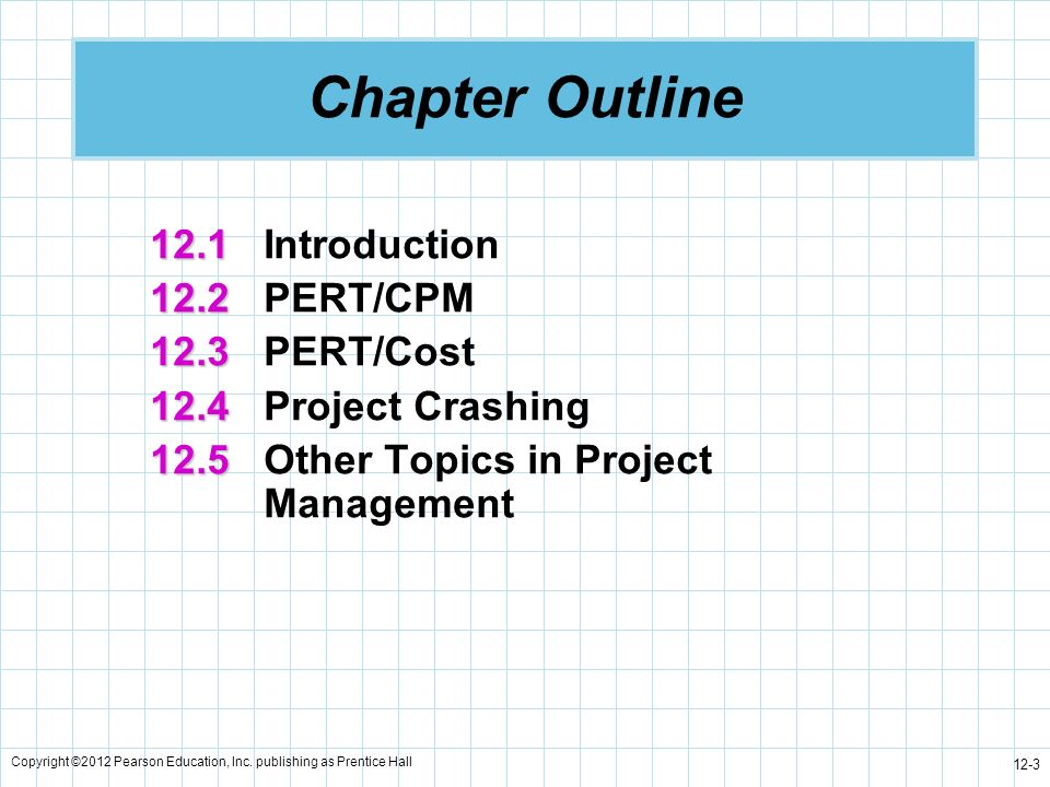 Chapter Outline 12.1 Introduction 12.2 PERT/CPM 12.3 PERT/Cost