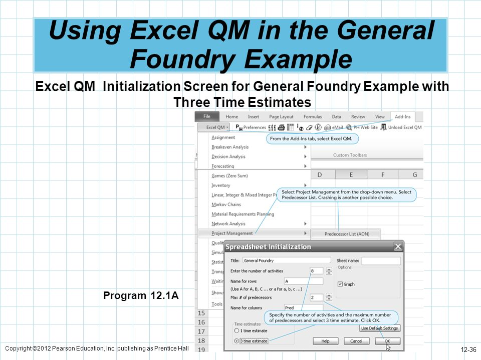 Using Excel QM in the General Foundry Example